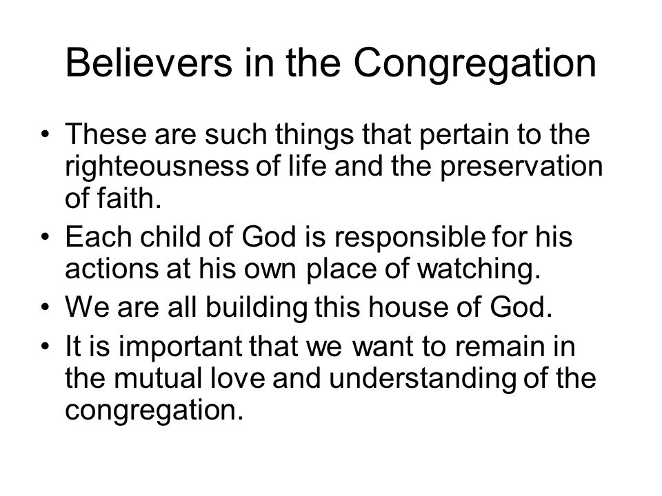 Believers in the Congregation These are such things that pertain to the righteousness of life and the preservation of faith.