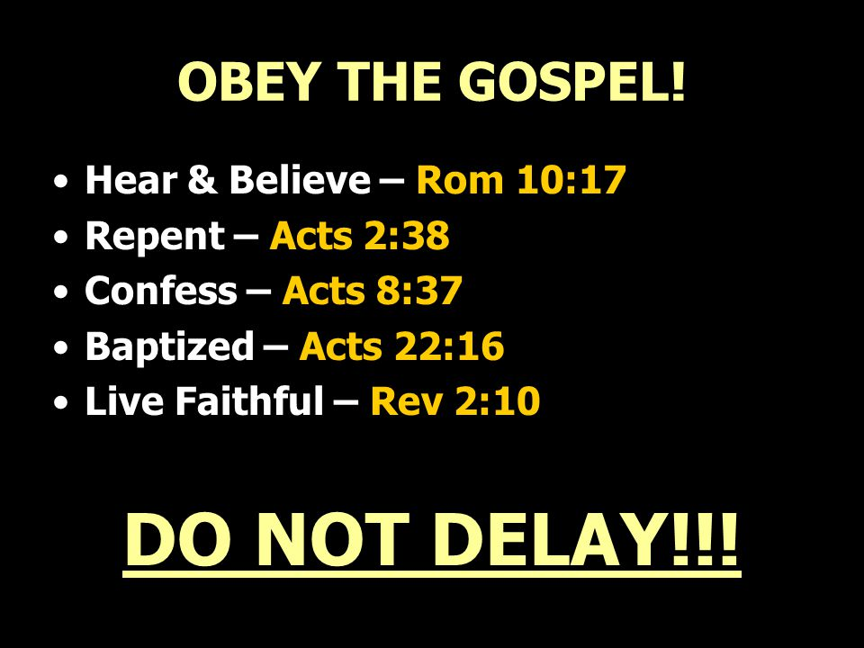 OBEY THE GOSPEL.