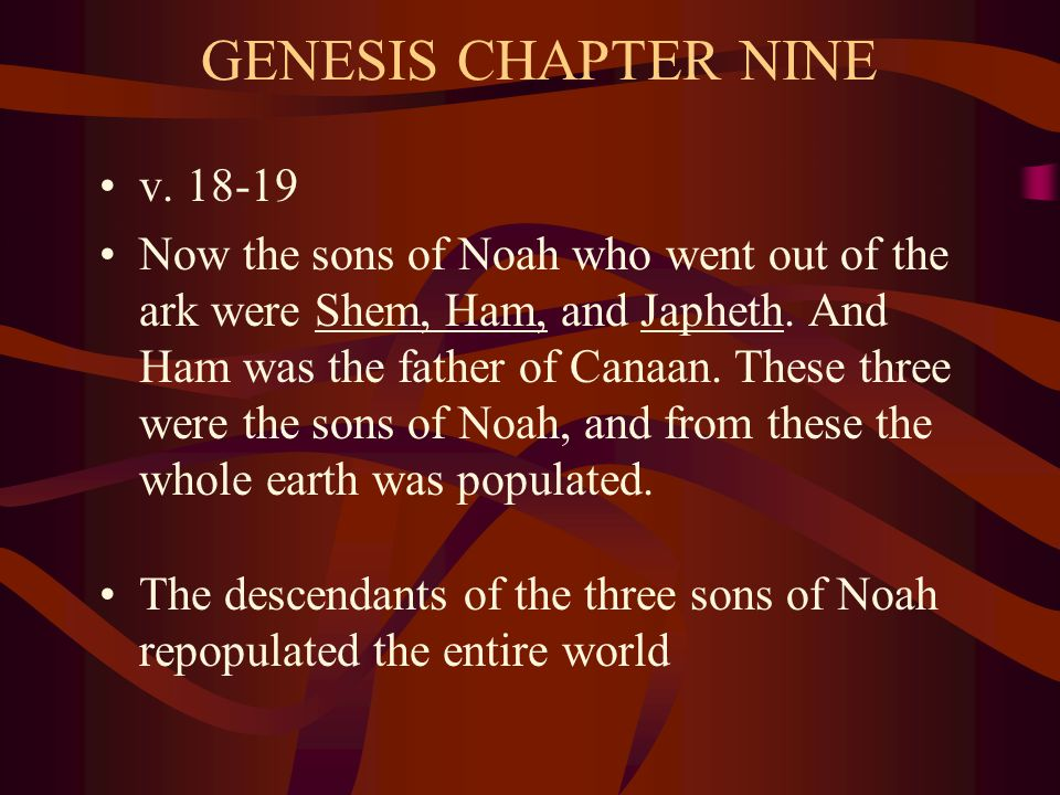 GENESIS CHAPTER NINE v. 18-19 Now the sons of Noah who went out of the ark were Shem, Ham, and Japheth. And Ham was the father of Canaan. These three
