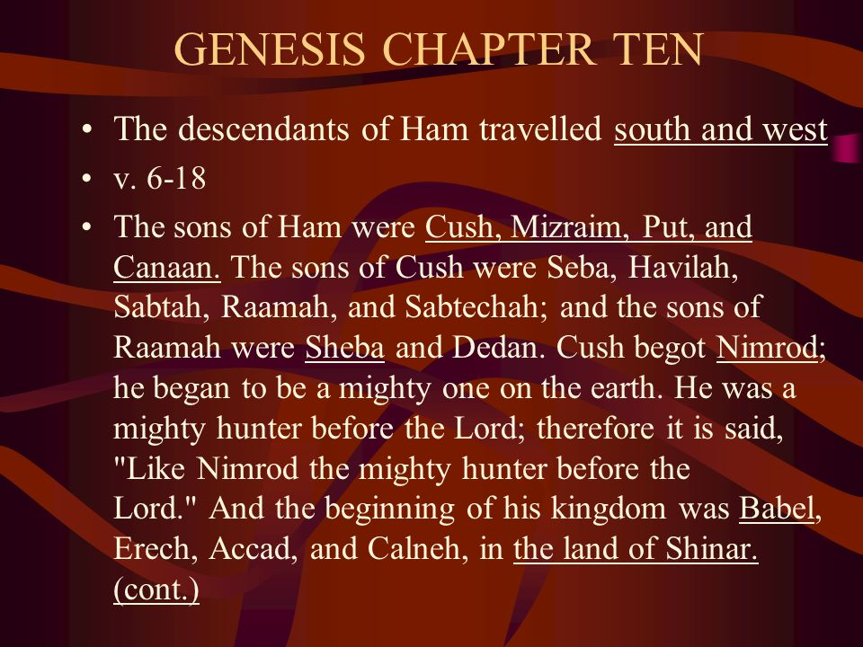 GENESIS CHAPTER TEN The descendants of Ham travelled south and west v.