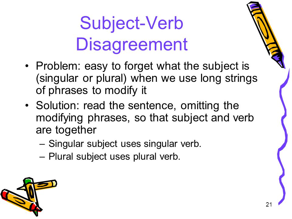 21 Subject-Verb Disagreement Problem: easy to forget what the subject is (singular or plural) when we use long strings of phrases to modify it Solution: read the sentence, omitting the modifying phrases, so that subject and verb are together –Singular subject uses singular verb.