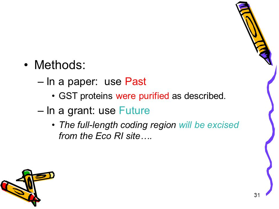 31 Methods: –In a paper: use Past GST proteins were purified as described.