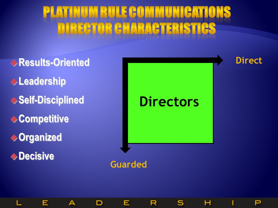 Directors Guarded Direct  Results-Oriented  Leadership  Self-Disciplined  Competitive  Organized  Decisive