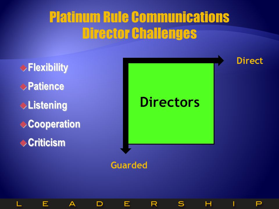  Flexibility  Patience  Listening  Cooperation  Criticism Platinum Rule Communications Director Challenges Directors Guarded Direct