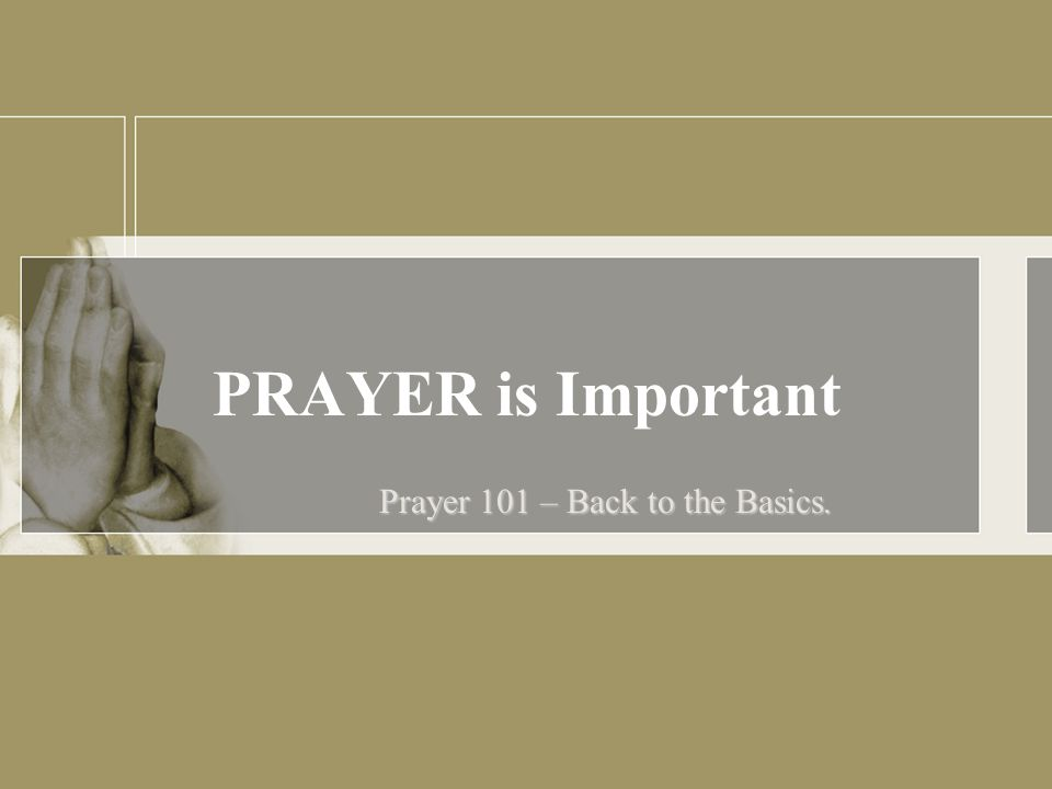 PRAYER is Important