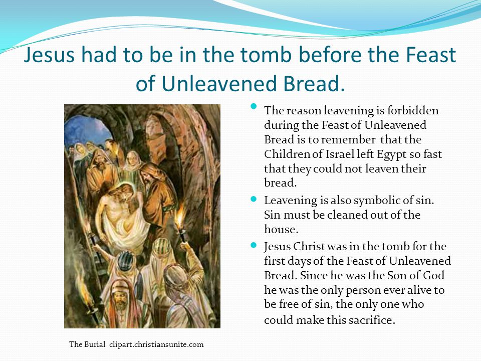 Jesus had to be in the tomb before the Feast of Unleavened Bread.