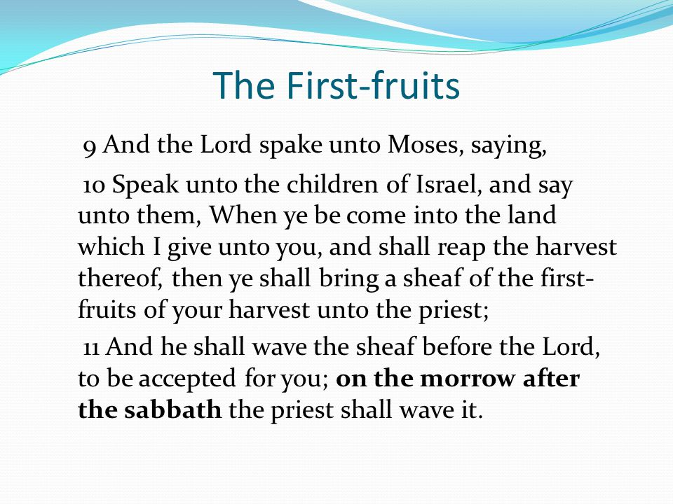The First-fruits 9 And the Lord spake unto Moses, saying, 10 Speak unto the children of Israel, and say unto them, When ye be come into the land which I give unto you, and shall reap the harvest thereof, then ye shall bring a sheaf of the first- fruits of your harvest unto the priest; 11 And he shall wave the sheaf before the Lord, to be accepted for you; on the morrow after the sabbath the priest shall wave it.