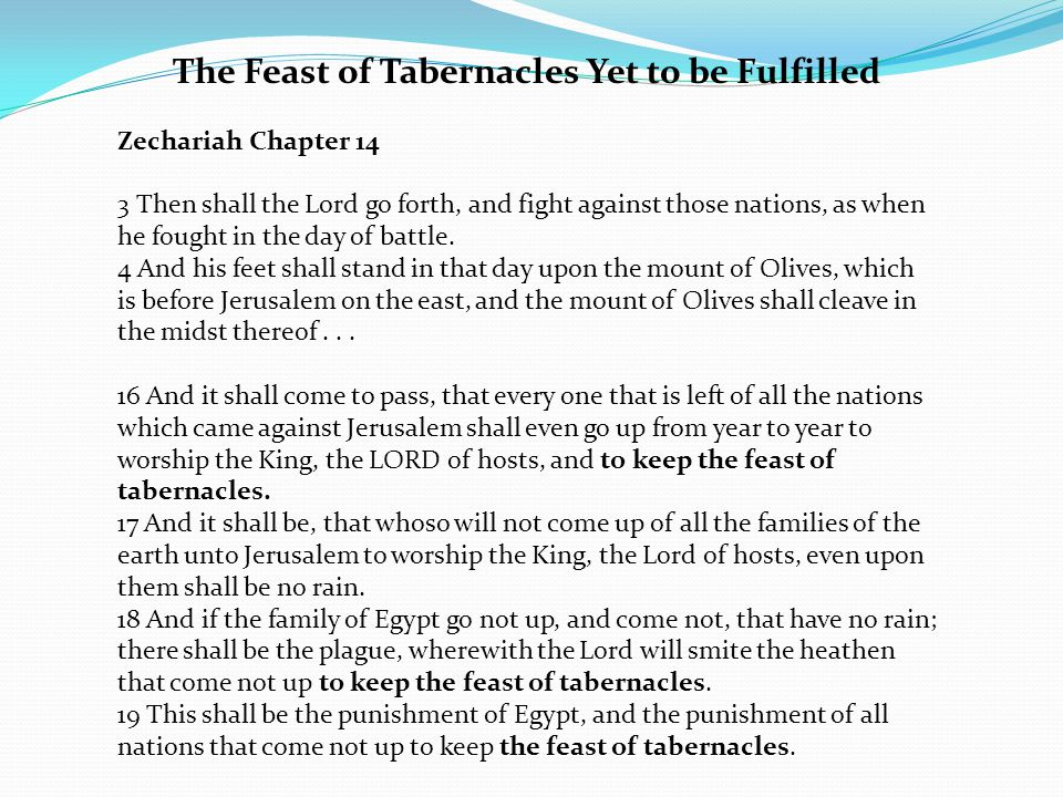 The Feast of Tabernacles Yet to be Fulfilled Zechariah Chapter 14 3 Then shall the Lord go forth, and fight against those nations, as when he fought in the day of battle.