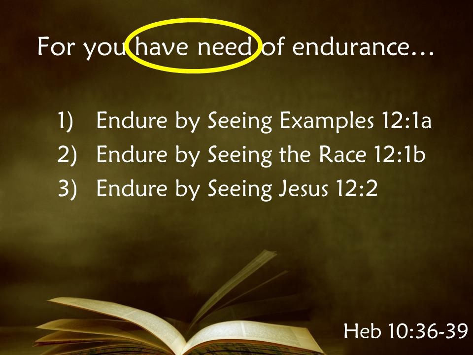 Heb 10:36-39 For you have need of endurance… 1)Endure by Seeing Examples 12:1a 2)Endure by Seeing the Race 12:1b 3)Endure by Seeing Jesus 12:2