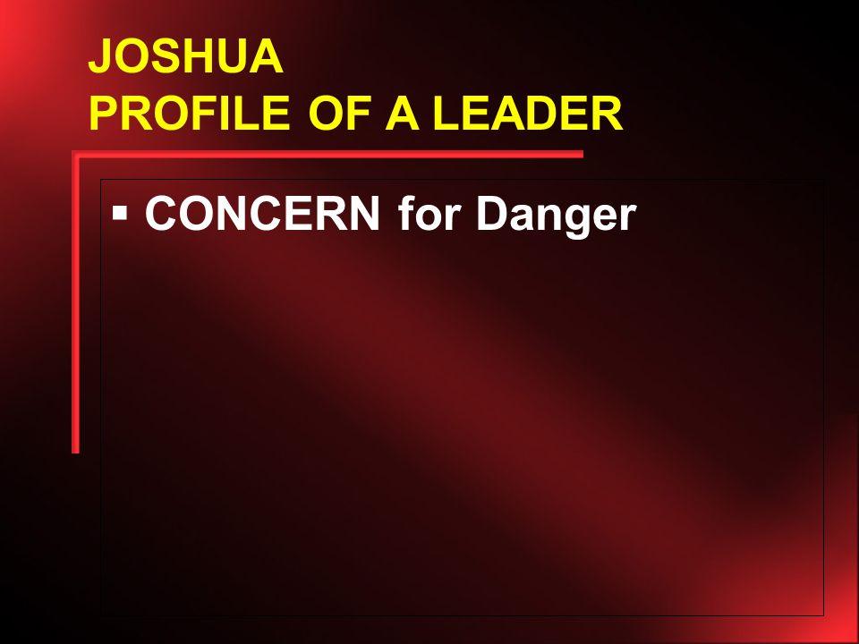  CONCERN for Danger JOSHUA PROFILE OF A LEADER