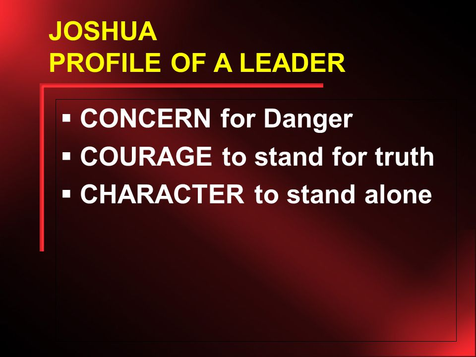  CONCERN for Danger  COURAGE to stand for truth  CHARACTER to stand alone JOSHUA PROFILE OF A LEADER