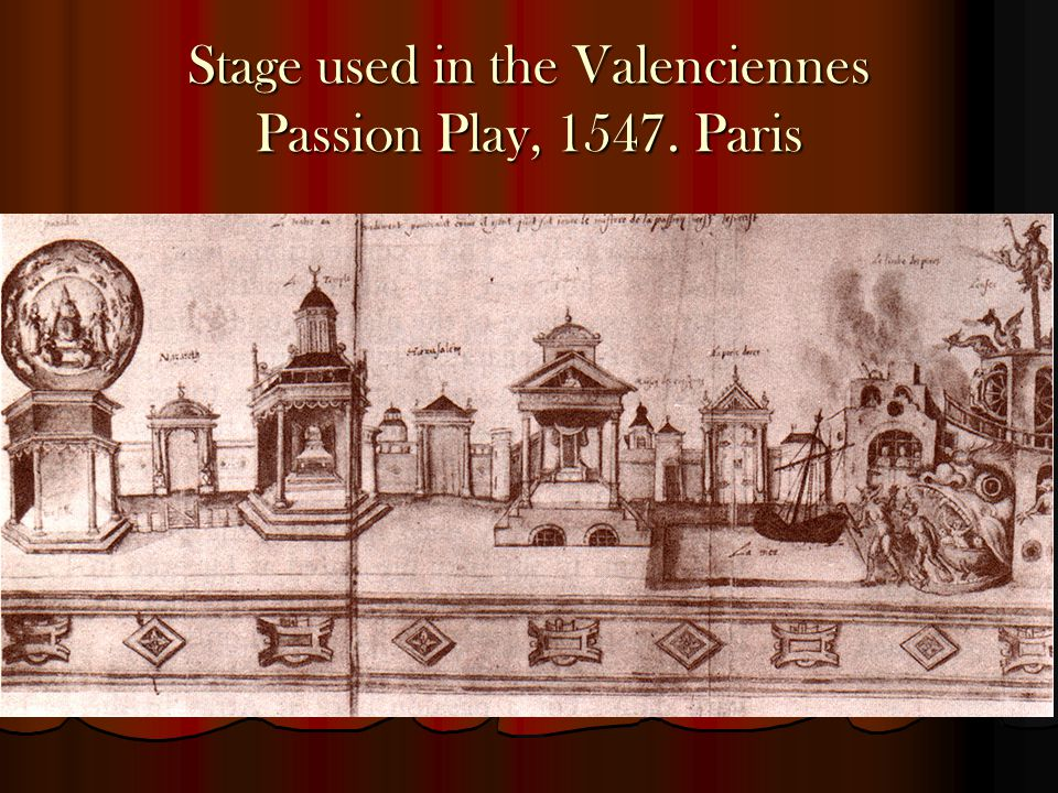 Stage used in the Valenciennes Passion Play, 1547. Paris