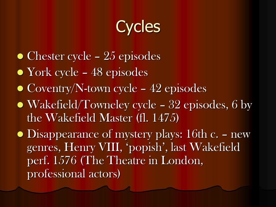 Cycles Chester cycle – 25 episodes Chester cycle – 25 episodes York cycle – 48 episodes York cycle – 48 episodes Coventry/N-town cycle – 42 episodes Coventry/N-town cycle – 42 episodes Wakefield/Towneley cycle – 32 episodes, 6 by the Wakefield Master (fl.
