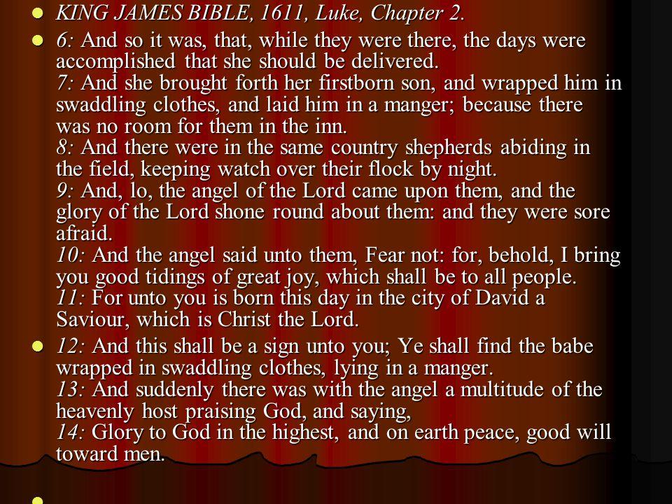 KING JAMES BIBLE, 1611, Luke, Chapter 2.KING JAMES BIBLE, 1611, Luke, Chapter 2.