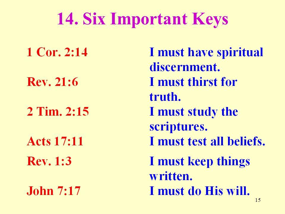 15 14. Six Important Keys