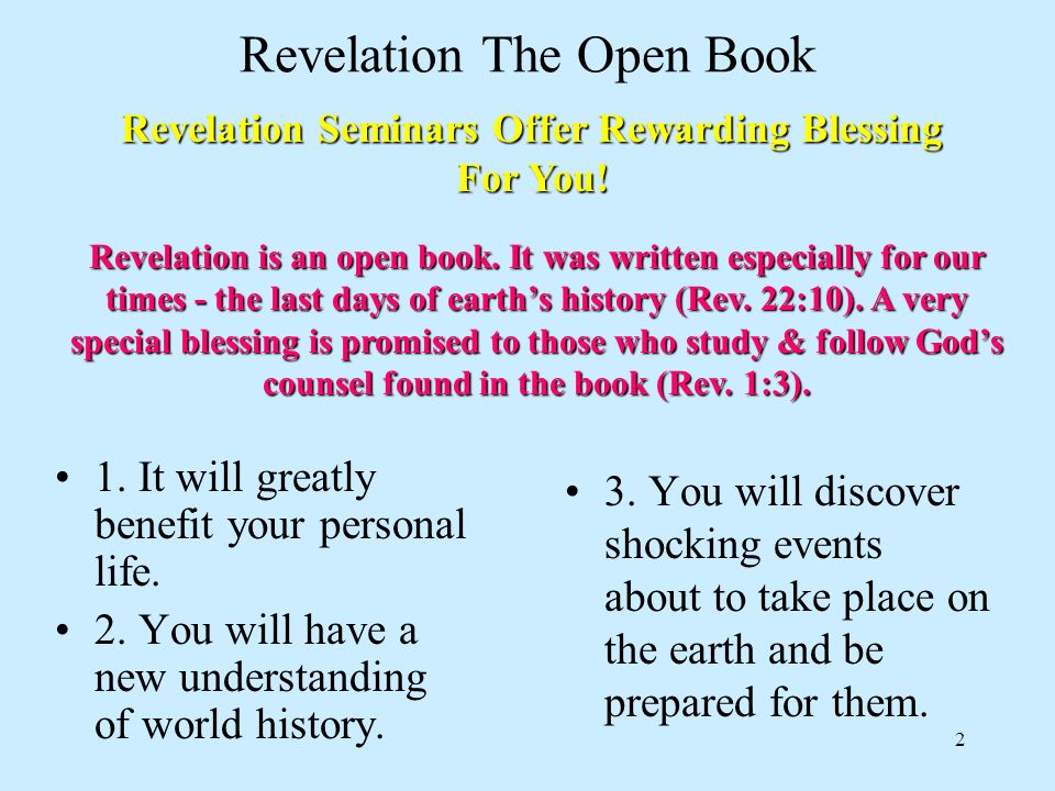 2 Revelation The Open Book 1. It will greatly benefit your personal life.