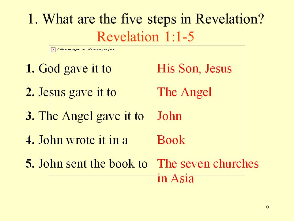 6 1. What are the five steps in Revelation Revelation 1:1-5