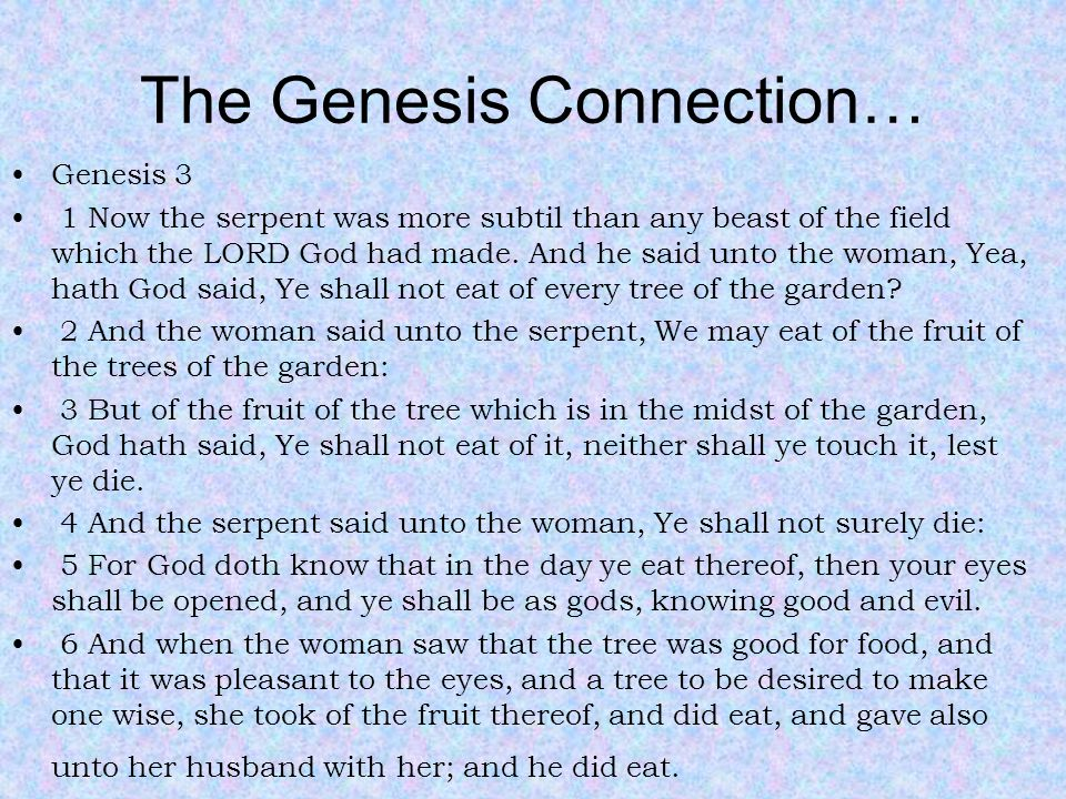 The Genesis Connection… Genesis 3 1 Now the serpent was more subtil than any beast of the field which the LORD God had made.