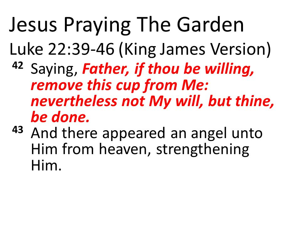 Jesus Praying The Garden Luke 22:39-46 (King James Version) 42 Saying, Father, if thou be willing, remove this cup from Me: nevertheless not My will, but thine, be done.