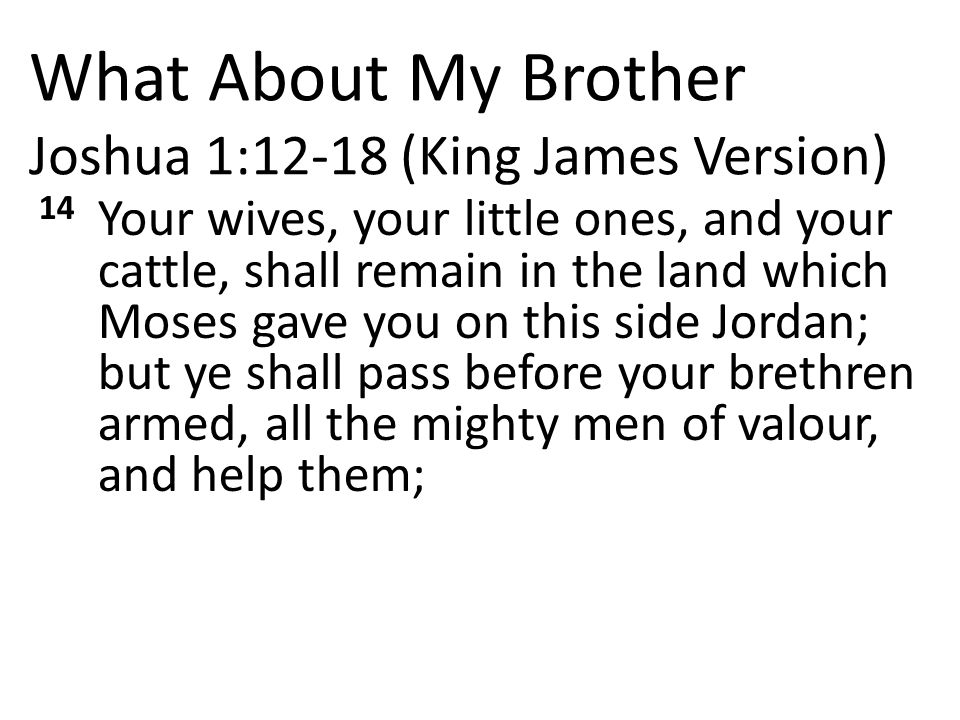 What About My Brother Joshua 1:12-18 (King James Version) 14 Your wives, your little ones, and your cattle, shall remain in the land which Moses gave you on this side Jordan; but ye shall pass before your brethren armed, all the mighty men of valour, and help them;