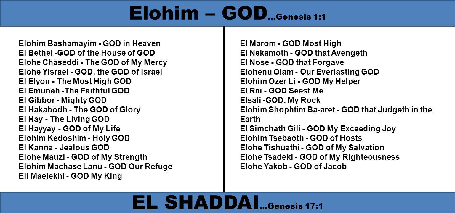 Elohim Bashamayim - GOD in Heaven El Bethel -GOD of the House of GOD Elohe Chaseddi - The GOD of My Mercy Elohe Yisrael - GOD, the GOD of Israel El El