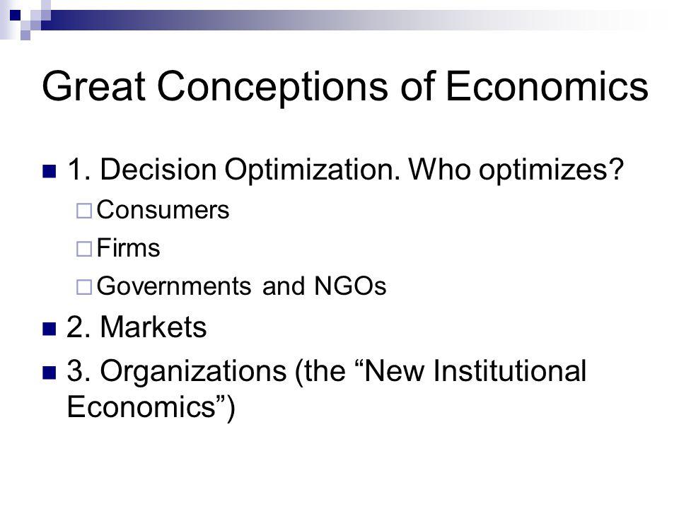Great Conceptions of Economics 1. Decision Optimization.
