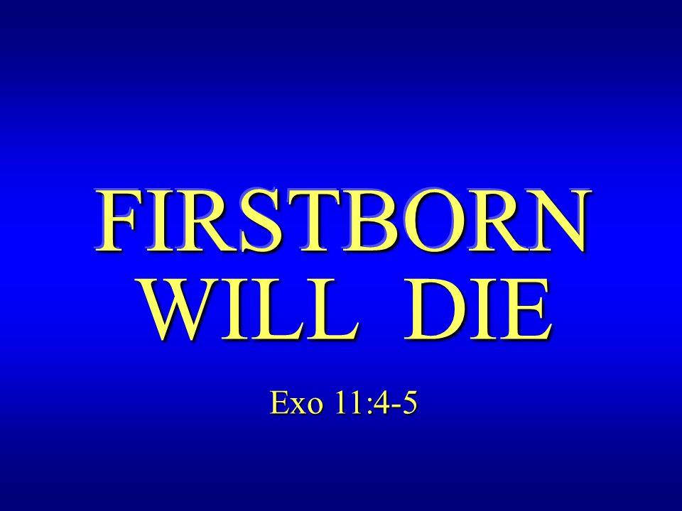 FIRSTBORN WILL DIE Exo 11:4-5