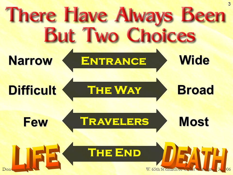 Don McClainW. 65th St church of Christ - December 3, 2006 3 The End Narrow Wide Entrance Difficult Broad The Way Travelers Few Most