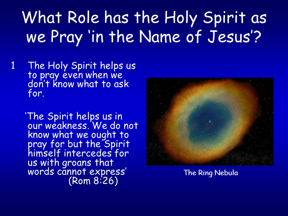 What Role has the Holy Spirit as we Pray 'in the Name of Jesus'? 1The Holy Spirit helps us to pray even when we don't know what to ask for. 'The Spiri