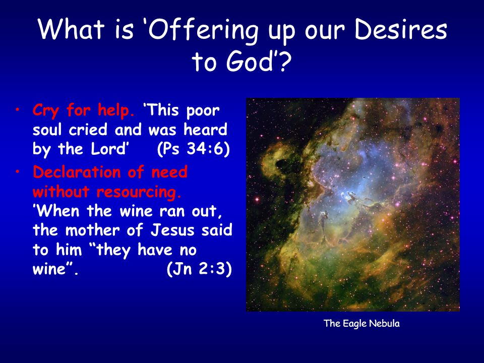 What is 'Offering up our Desires to God'? Cry for help. 'This poor soul cried and was heard by the Lord' (Ps 34:6) Declaration of need without resourc