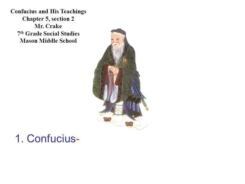 1.Confucius-a Chinese philosopher and teacher whose beliefs had a great influence on Chinese life.