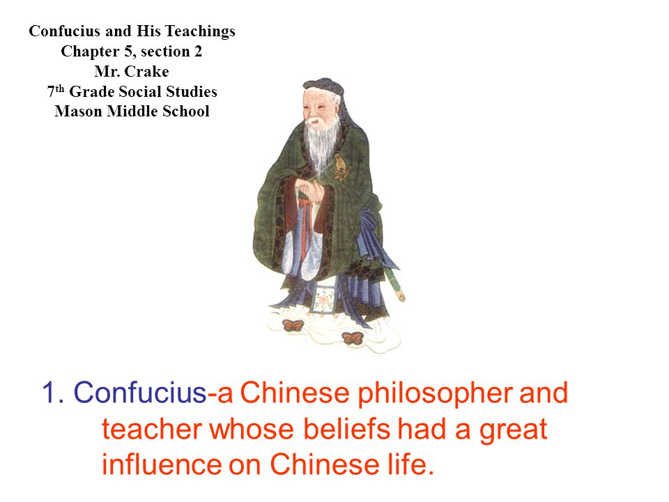 1. Confucius-a Chinese philosopher and teacher whose beliefs had a great influence on Chinese life.
