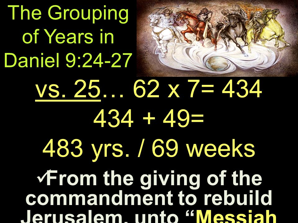 The Grouping of Years in Daniel 9:24-27 From the giving of the commandment to rebuild Jerusalem, unto Messiah the Prince From the giving of the commandment to rebuild Jerusalem, unto Messiah the Prince vs.