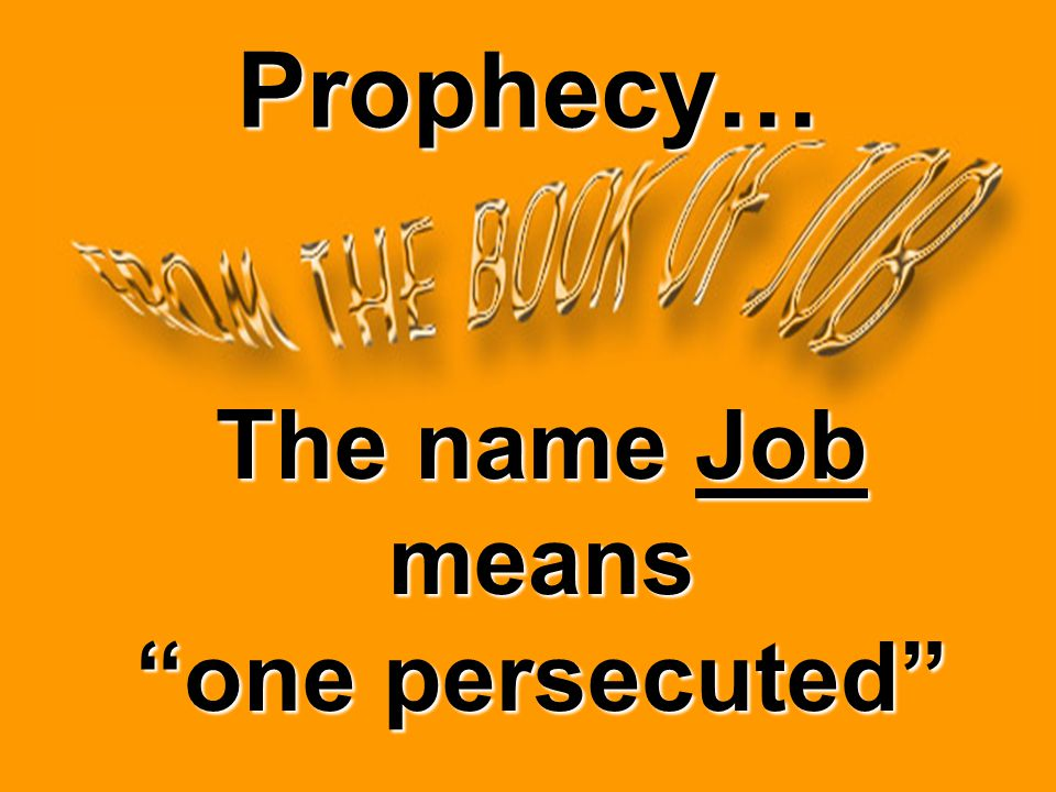 Prophecy… The name Job means one persecuted