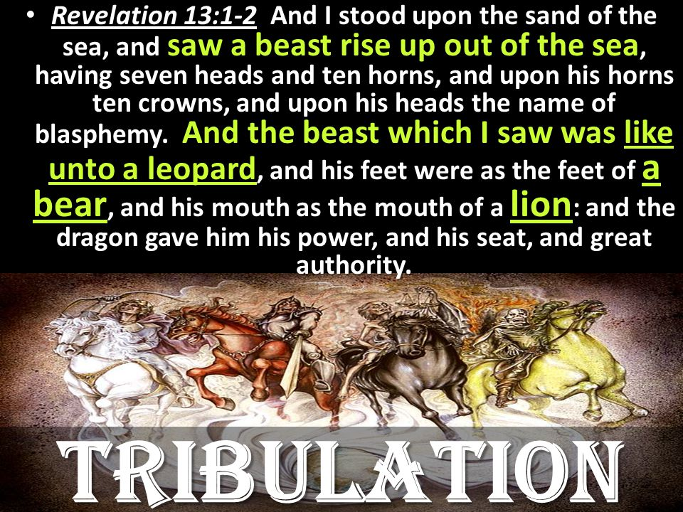 Revelation 13:1-2 And I stood upon the sand of the sea, and saw a beast rise up out of the sea, having seven heads and ten horns, and upon his horns ten crowns, and upon his heads the name of blasphemy.