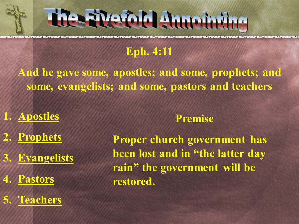 Eph. 4:11 And he gave some, apostles; and some, prophets; and some, evangelists; and some, pastors and teachers Premise Proper church government has b