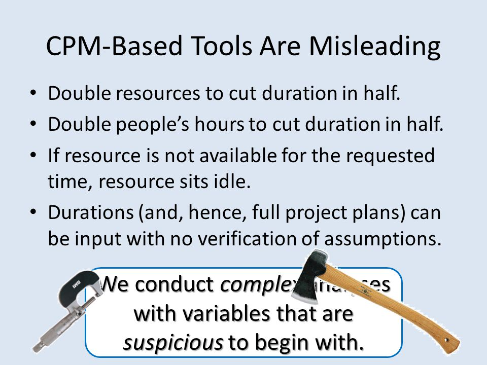 CPM-Based Tools Are Misleading Double resources to cut duration in half.