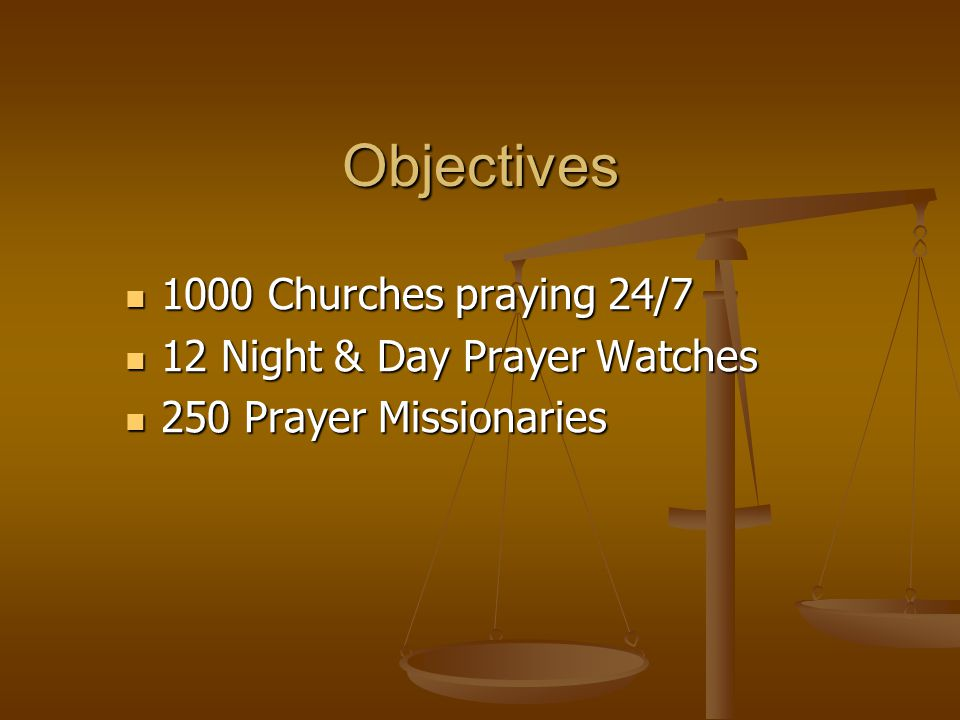 Objectives 1000 Churches praying 24/7 1000 Churches praying 24/7 12 Night & Day Prayer Watches 12 Night & Day Prayer Watches 250 Prayer Missionaries 250 Prayer Missionaries