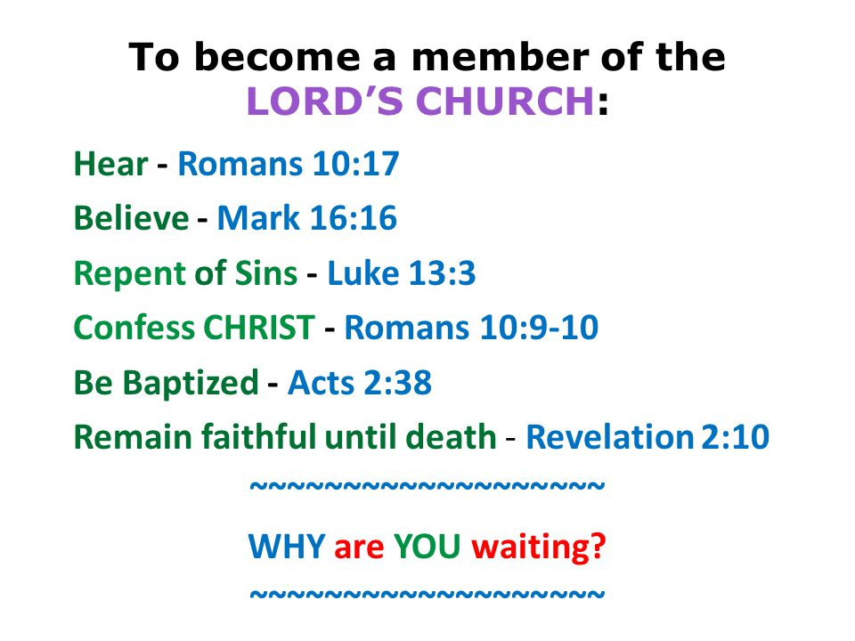 To become a member of the LORD'S CHURCH: Hear - Romans 10:17 Believe - Mark 16:16 Repent of Sins - Luke 13:3 Confess CHRIST - Romans 10:9-10 Be Baptized - Acts 2:38 Remain faithful until death - Revelation 2:10 ~~~~~~~~~~~~~~~~~~~ WHY are YOU waiting.