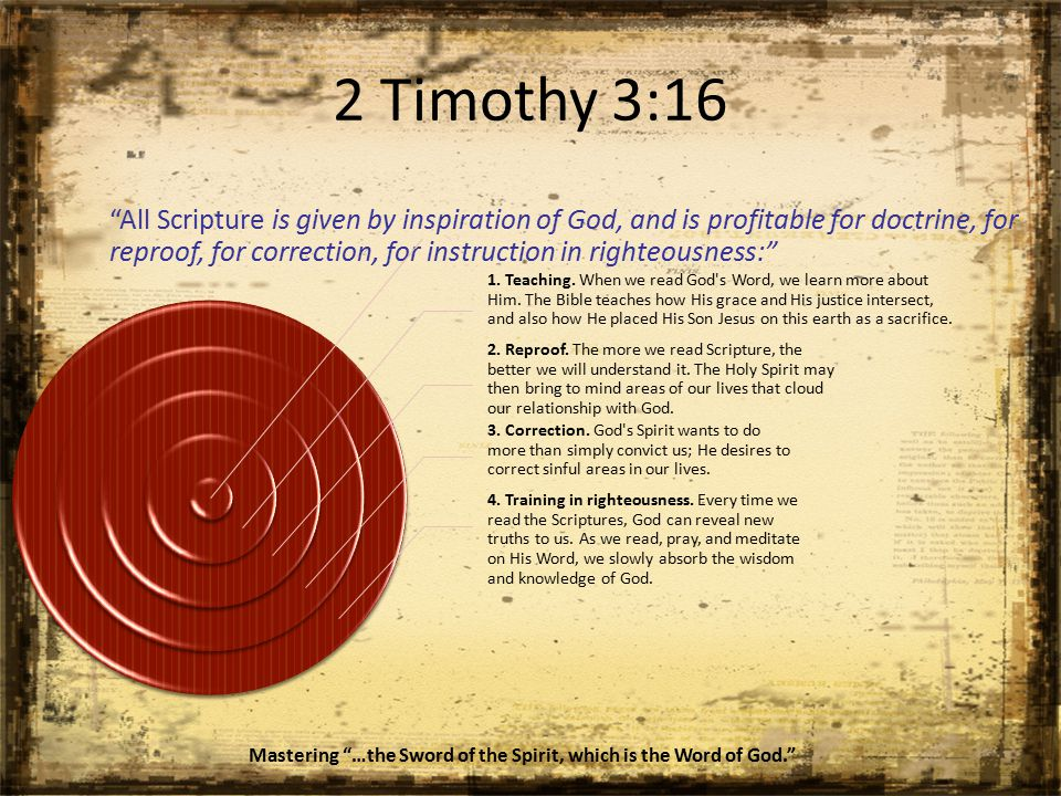 2 Timothy 3:16 All Scripture is given by inspiration of God, and is profitable for doctrine, for reproof, for correction, for instruction in righteousness: 1.