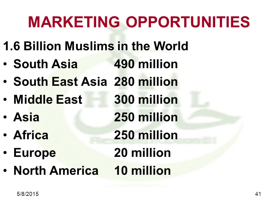 MARKETING OPPORTUNITIES 1.6 Billion Muslims in the World South Asia490 million South East Asia280 million Middle East300 million Asia250 million Africa250 million Europe20 million North America10 million 5/8/201541