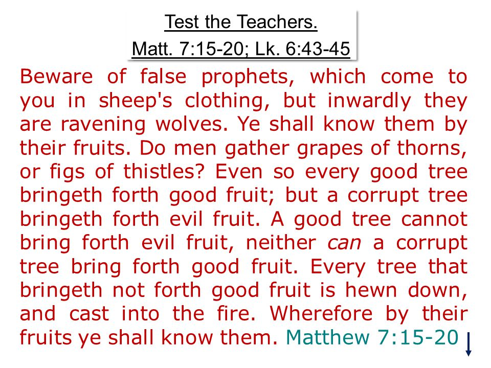 Test the Teachers. Matt. 7:15-20; Lk. 6:43-45 Test the Teachers.