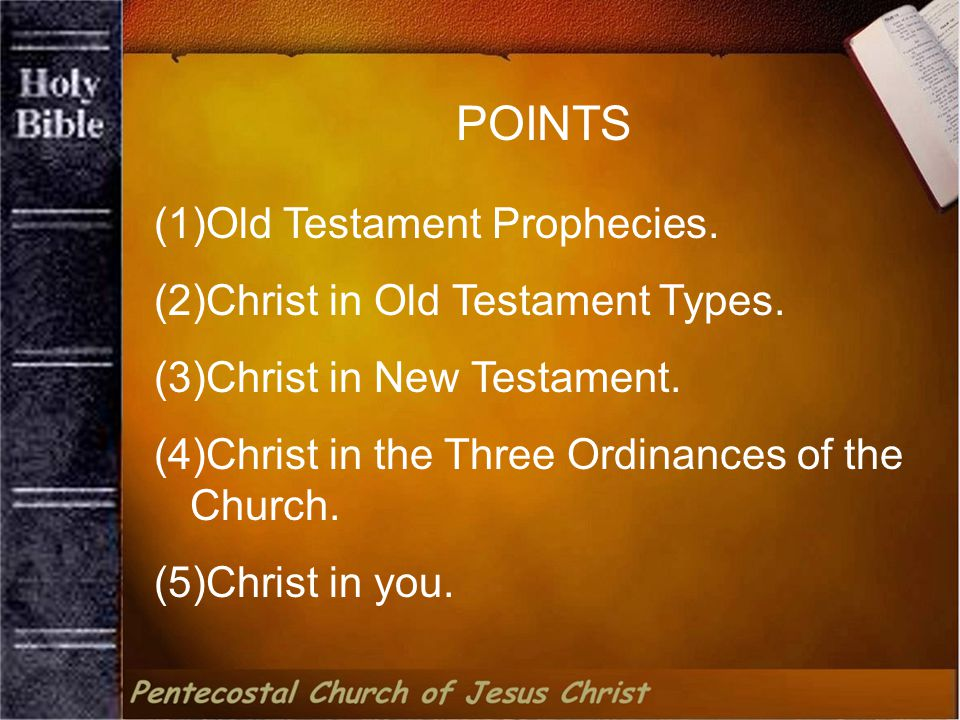 (1)Old Testament Prophecies.(2)Christ in Old Testament Types.