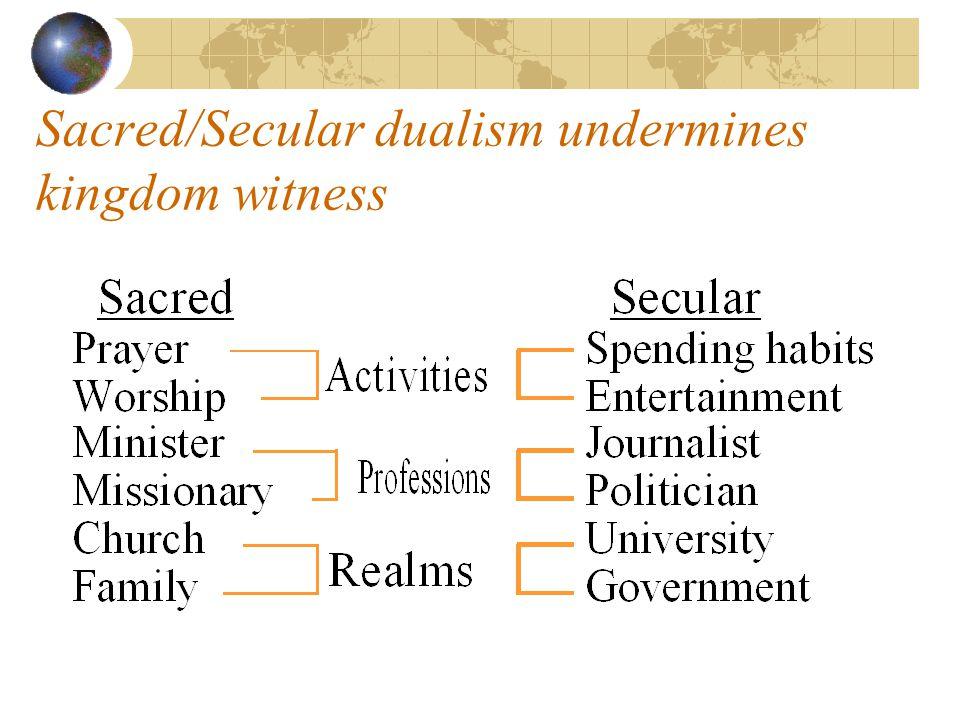 Sacred/Secular dualism undermines kingdom witness