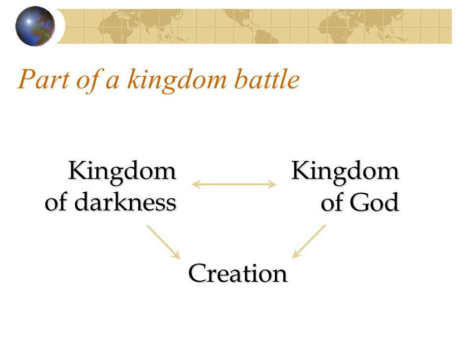 Part of a kingdom battle Kingdom of darkness Kingdom of God Creation