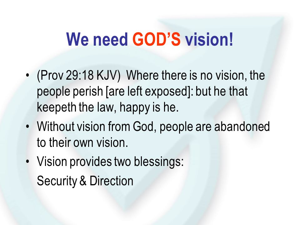We need GOD'S vision! (Prov 29:18 KJV) Where there is no vision, the people perish [are left exposed]: but he that keepeth the law, happy is he. Witho
