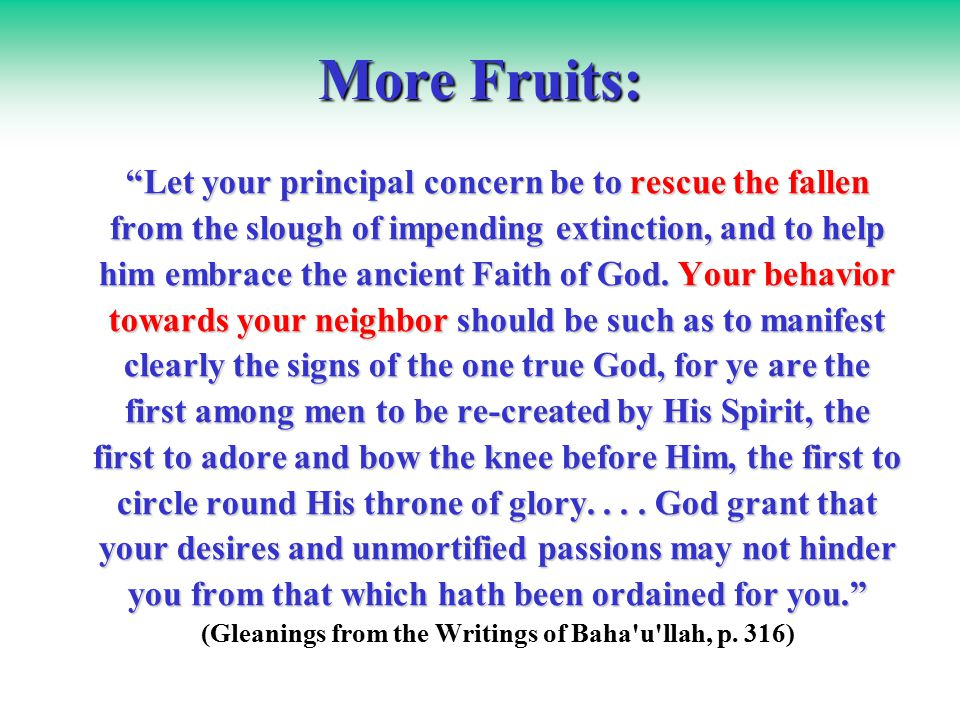 More Fruits: Let your principal concern be to rescue the fallen from the slough of impending extinction, and to help him embrace the ancient Faith of God.