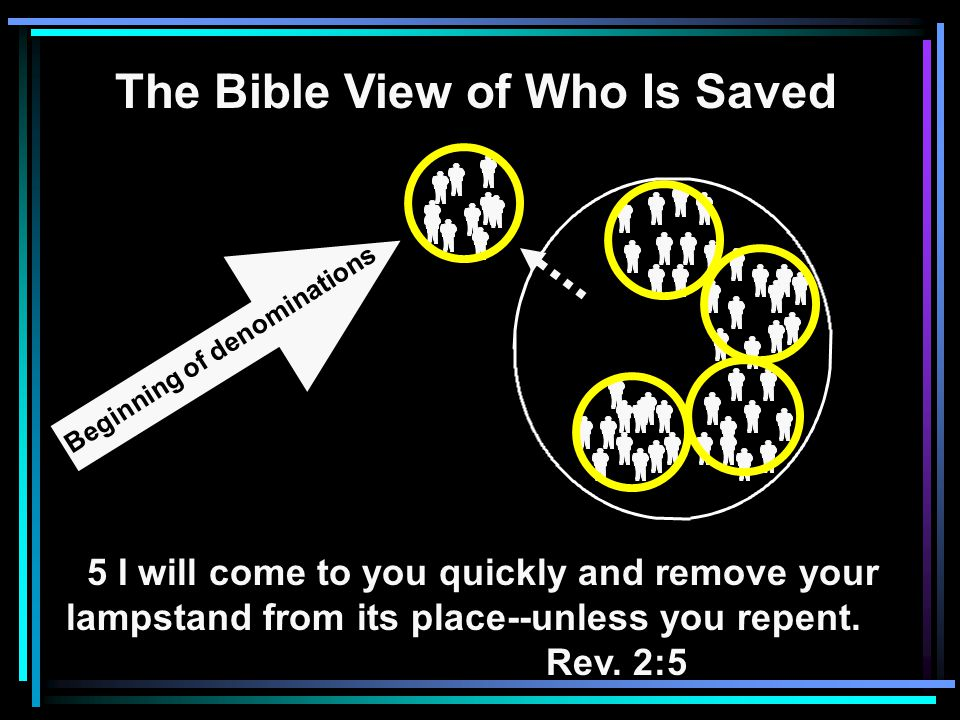 The Bible View of Who Is Saved 5 I will come to you quickly and remove your lampstand from its place--unless you repent.