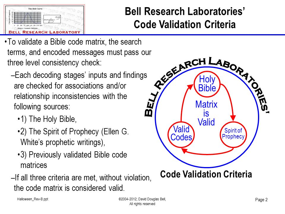 Halloween_Rev-B.ppt©2004-2012; David Douglas Bell, All rights reserved Page 2 To validate a Bible code matrix, the search terms, and encoded messages must pass our three level consistency check: –Each decoding stages' inputs and findings are checked for associations and/or relationship inconsistencies with the following sources: 1) The Holy Bible, 2) The Spirit of Prophecy (Ellen G.
