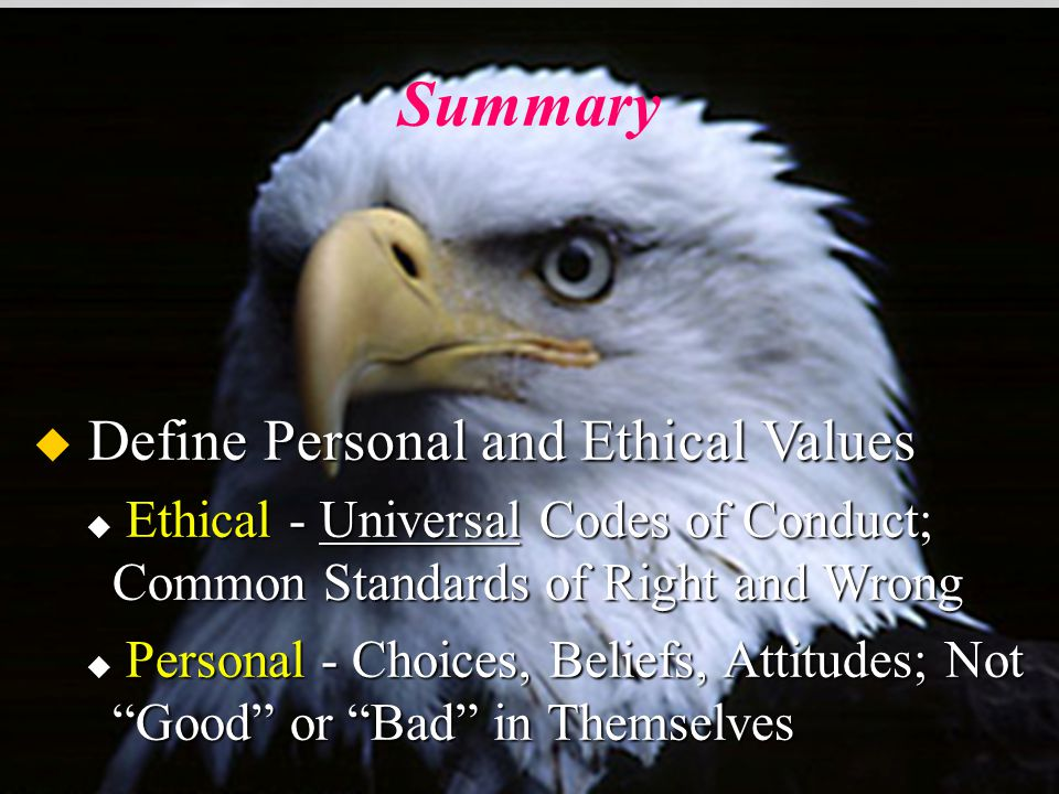 Summary u Review the Core Values u Essential Ingredients Needed to Build a Quality Air Force u We Should Work Toward Meshing Our Personal, Ethical, and AF Core Values